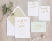 The Mint Wedding Collection by Paper Daisies, Invitation Suite, Whimsical, SAMPLE SET