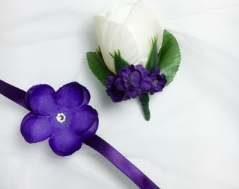 Purple Corsage and Boutonniere