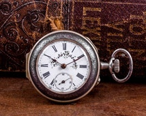 Swiss made pocket watch, rustic pocket watch, traditional pocket watch, unique pocket watch, wind up watch, mechanical pocket watch