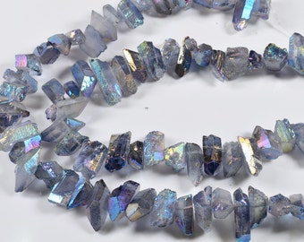 Lake-blue Titanium Raw Crystal Points-AB plating/Titanium Aura Raw Crystal beads -one is approx. 10~20mm in length-Drilled