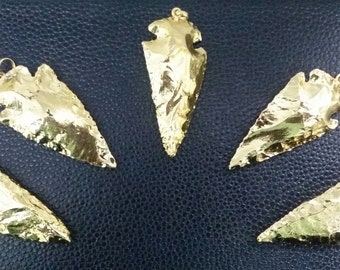 5 pcs of Natural Agate Arrowhead Full 24k Gold Plated 40mm-55mm