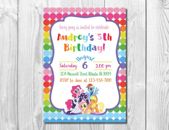 My Little Pony Birthday Party Invitation >> Rainbow Dash Birthday >>  Girls Birthday Party Invite >> Custom Printable Digital File