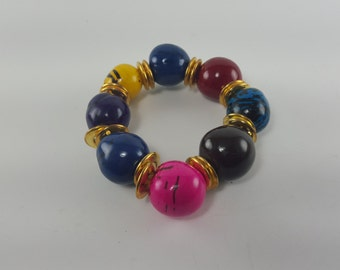 Multi-colored Beaded Bracelet ~ Boho Chic Bracelet ~ Jewel Tone Festival Style ~ Oversized Beads  Bracelet