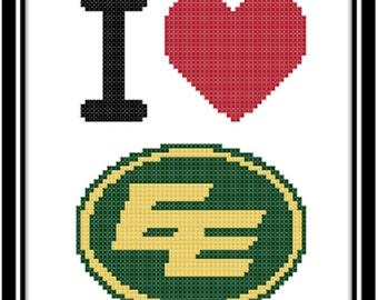 I Love The Edmonton Eskimos Counted Cross Stitch Pattern (PDF Download)