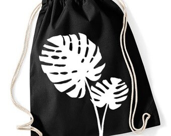 Gym Sack Yoga Bag Monstera print Earthfriendly