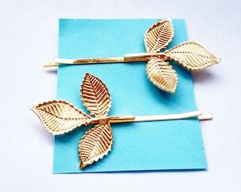 A pair of Gold 3 leaves hair pins, hair clips, bridal hair accessories, wedding hair accessories , summer hair pins