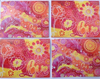 4 pack of printed Greeting cards of Love from original paintings