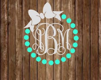 Pearl Bow Monogram Decal-Pearl Monogram Decal-Bow Monogram Decal-Pearl Bow Monogram-Bow Decal-Pearl Decal-Monogram Decal-Yeti Decal-Decal