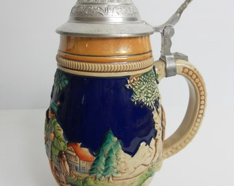 Vintage German- Colored Deer Hunting Scene- Beer Stein