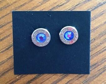9mm Bullet Casing Earrings - Blue Topaz Rhinestone on Nickel Casing