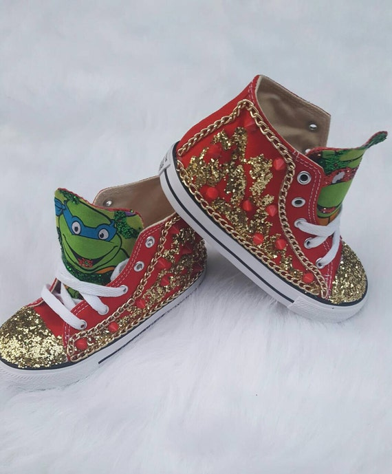 Ninji Turtle Themed Converse. Birthday Shoes. Unique Shoes. FAST TURNAROUND!!