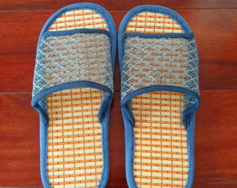 Handmade Bamboo Healthy Mens Slipper Indoor Flats Shoes
