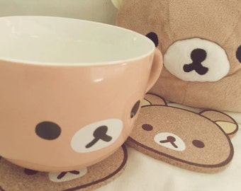2pcs of kawaii cute Rilakkuma bear wooden Coasters