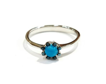 Blue blossom  silver ring 925, Sterling silver ring, Dainty ring