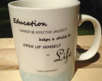 Montessori Quote Watercolor Mug (Blue)