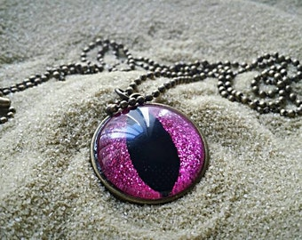 Pink Cat's Eye Necklace, Handpainted Pendant, Nail Polish Jewelry, Handpainted, Necklace, Eyeball Necklace, Glass Necklace, Cat Necklace