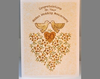 Special Wishes Large Gold Anniversary Doves Card SW WE01