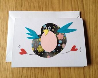 Dancing Bird Handmade Greeting Card - Black
