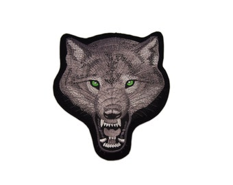 Vest Fox Wolf Motorcycle Harley Davidson Hog Club Embroidered  Iron On Biker Patches Patch Sew Appliques Alphabet Large Size 19 x 22 cm