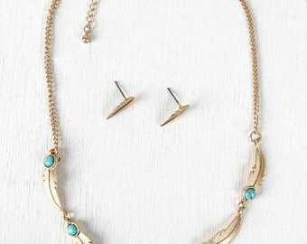 Feather Chain Marble Necklace - Gold