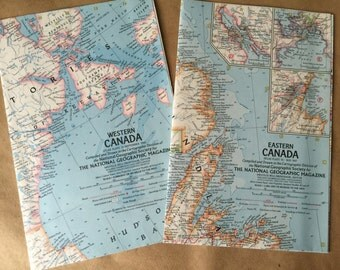Pair of National Geographic Vintage Maps Eastern and Western Canada