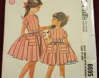 1962 McCalls #6695 size8 little girls Dress and petticoat