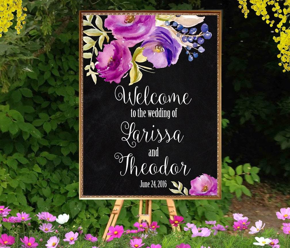 Names Of Purple Flowers For Wedding: Welcome Wedding Sign Printable Purple Flowers Chalkboard