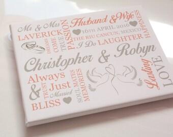 Personalised wedding gift word art print custom anniversary keepsake picture