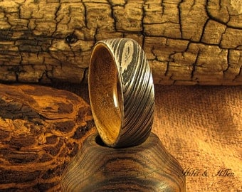 Damascus steel and Teak Ring