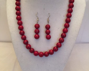 Red Speckled Beaded Set