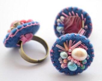 Arlene beaded felt rings
