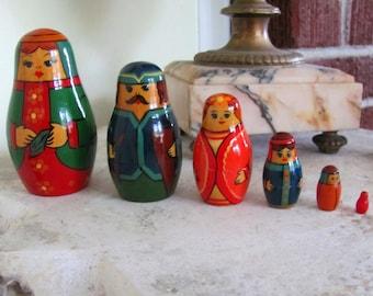 Vintage set of wooden stacking/nesting dolls