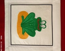 Kid's Wall-hanging - Applique. Perfect Gift for baby, child, Christening. Family Heirloom; Decor - Frog on Lilypad - Green & Yellow