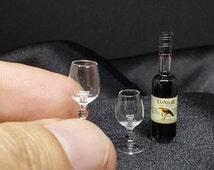 Miniature Bottle Glass of Brandy and 2 Brandy Glass for Dollhouse Handmade 1:12