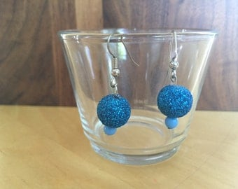 Sparkly blue party earrings