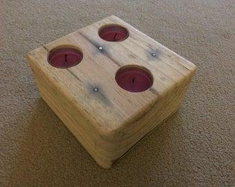 Wooden Block - Triple Tea Light