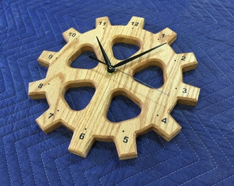 "12"" Oak Wood Gear Wall Clock"