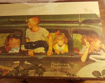"Wooden Drawers Decoupouged with Norman Rockwell Color Print "" The Outing"" Family in Car with Dog Before"