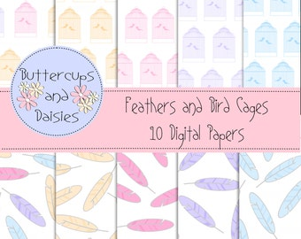 Feathers and Bird Cages Digital Papers