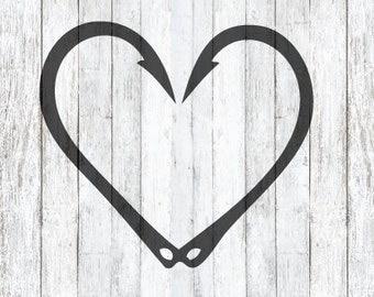 Fish Hook Heart SVG