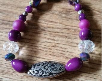Purple Bead Elasticated Bracelet