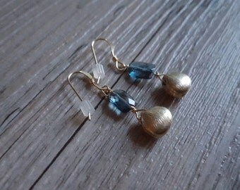 Gold Vermeil & Blue Topaz Bead Earrings