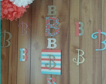 """coral and blue """"B"""" letters"""