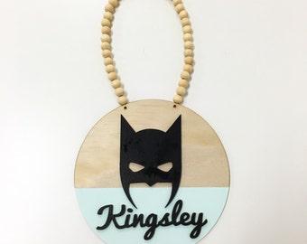 Bat Mask Name Plaque