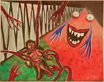 Abstract Painting of Anxiety on Canvas Board/Scary Art/Paintings of nightmares/Abstract/Acrylic Paintings/Abstract monster/ Horror show