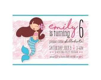 Kids Birthday MERMAID Invitation PRINTABLE
