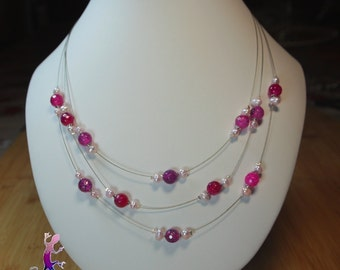 Fuchsia agate and water pearl necklace