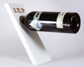 Personalized Wine Gift, Personalized Wine Bottle Holder in White, Balancing Wine Holder, Lacquer Wood Wine Stand, Wine Display
