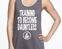 Training to become Dauntless Divergent inspired workout racing tank running tank