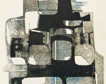 Cityscape II. Giclee print made from original photoetching and collograph print. Digital print. City. Abstract.